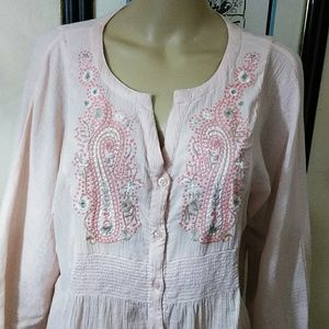 RXB, peach embroidered Tunic